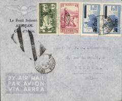 (French Ivory Coast) Ivory Coast to Switzerland, Abidjan to Bienne, correctly franked 1F75 postage + 4F air surcharge, Flown Abidjan to Dakar by Aeromaritime, on to Marseilles by Air France then surface to Bienne.