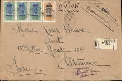 (French Sudan) Kayes to Chateroux, bs 29/11, registered (label) airmail cover, 21x14cm, franked 6F75c, carried by rail from Kayes to Dakar, then by Aeropostale to Toulouse.