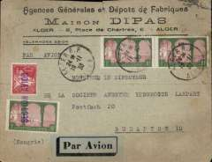 (Algeria) Alger to Budapest, bs 22/11, printed commercial cover franked 3F50,violet 'Section Avion' hs and airmail etiquette. Routed via Paris Gare du Nord 21/11, Closed 1cm top edge tear,