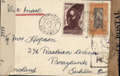 (Dahomey) High franked WWII censored cover, Cotonau to Surbiton, plain cover rated 16F50, sealed Abidjan black/bufff 'Controle Postale' censor tape tied by double ring censor mark, and also sealed Great Britain OBE 777 censor tape.