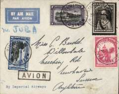 (Belgian Congo) Eastern Congo airmail, Stanleyville to London, printed 'Imperial Airways' imprint etiquette corner cover, franked 5F50, black framed 'Avion' hs, ms 'Via Juba'. By road to Abba and Juba to connect with IAW flight AN187 leaving Juba 6 Oct arriving Croydon 11 Oct.