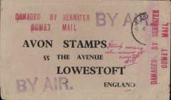 "(Recovered Interrupted Mail) BOAC COMET 1 G-ALYP crash near Elba, on a flight from Singapore to London, via Rome, buff printed commercial cover addressed to Avon Stamps, Lowestoft, England, stamp has been washed off but the residual postmark reads 'Alor' (Star)/'7 Jan' (1954), neat signed ms 'Stamps missing/when received at Lowestoft', verso a 'Found Open on Arrival' seal cancelled by two 'London F.S./27 JA  54' dr cds's, large violet 'BY AIR' x2 on front, and four very fine strikes (two front and two verso) of theType a red ""DAMAGED BY SEAWATER/COMET MAIL"" cachet, Ni 54010. A handsome example of a scarce item in exhibition condition."