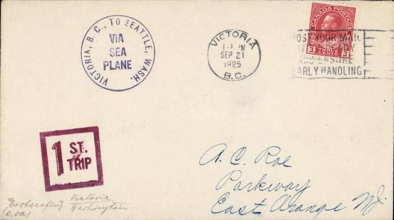 (Canada) Pioneer seaplane service, Victoria to Seattle, no arrival ds, black circular flight cachet on Roessler cover franked 3c, canc Victoria BC cds, also square red 'First Trip' hs.,
