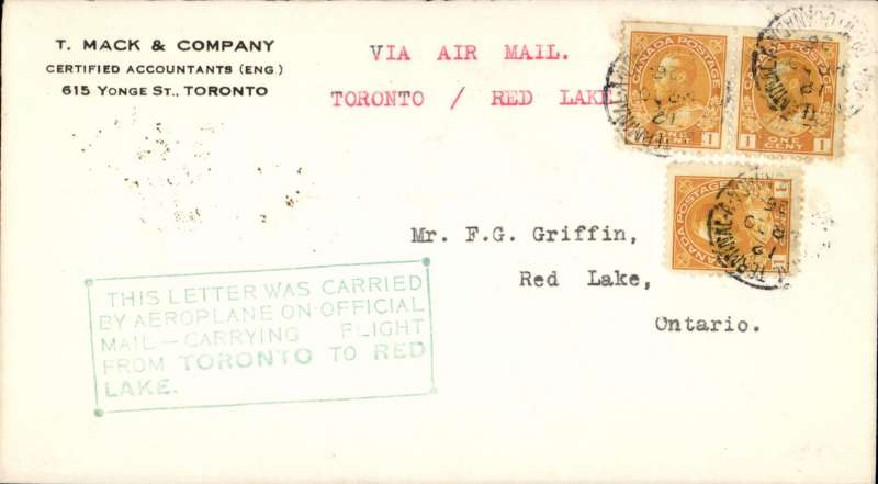 (Canada) F/F Toronto to Red Lake, bs 12/4, commercial corner cover franked 3c, official green framed five line flight cachet, typed 'Via Air Mail/Toronto/Red Lake'.