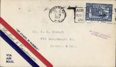 (Canada) F/F Montreal to Vancouver, bs, airmail cover franked 12c canc Montreal cds. The pilot was unable obtain insurance, so the flight was abandoned, Small violet 'Air Flight  Abandoned/Letter Returned'.