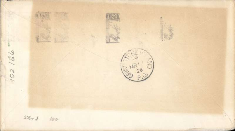 (Canada) Winter flight, scarce direct F/F Charlottown to Grindstone Island, bs 11/1, plain cover franked 2c Canc Charlottown cds. Mail was placed aboard the regular Moncton-Grindstone Island plane which stopped at Charlottown on that date (11.3.28). Large rectangular area of even toning verso, otherwise fine, see scan.