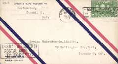 (Canada) F/F Montreal to Toronto, bs 6/5, airmail cover black framed three line flight cachet.