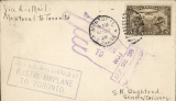 (Canada) First flight Montreal to Toronto using the newly issued 5c air stamp, blue framed three line  'This mail was Carried By/Postal Aeroplane'.