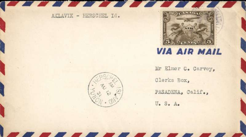 (Canada) Western Canada AW, special flight Aklavik to Herschel Island, bs, airmail cover franked 5c air. Very few covers flown.