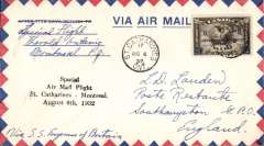 (Canada) Special flight to the Imperial Conference at Ottawa, St Catharines to Montreal, bs 6/8, airmail cover franked 5c air opt 'Ottawa Conference'