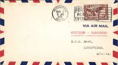 (Canada) Experimental flight, Winnipeg-Regina-Lethbridge-Vancuver, bs Lethbridge 1/3, airmail cover franked 6c.Small  mail.