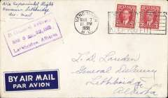 (Canada) Experimental return flight, Vancouver-Lethbridge-Regina-Winnipeg, Lethbridge 8/3 arriva date stamp on front, plain cover franked 6c. Small mail.