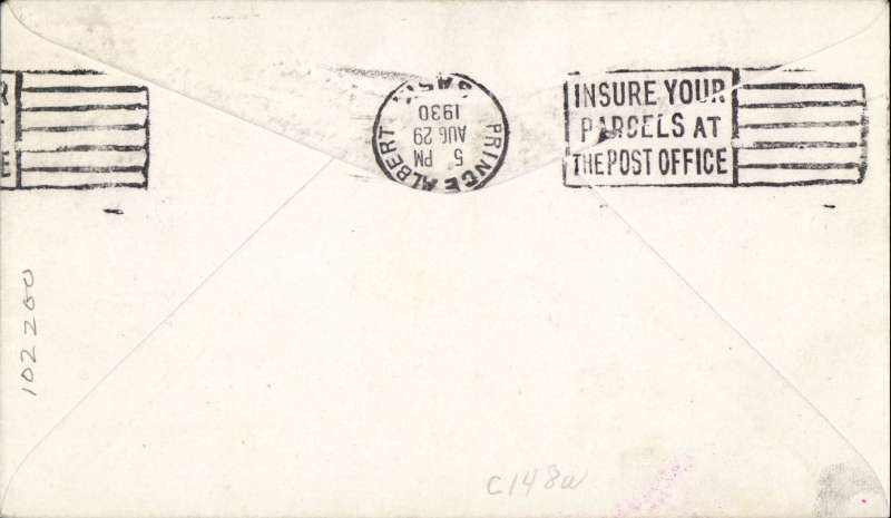 "(Canada) F/F Waskesiu Lake to Prince Albert, b/s, red/white semi official company stamp CL46 cancelled st line magenta ""Cherry Red Airline Ltd"" cachet, plain cover."