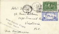 (Canada) British Columbia Airways Ltd, F/F Victoria to Vancouver, 3/8 arrival ds's front and verso, franked 2c and 5c CL44 tied by Victoria 3/8 cds.
