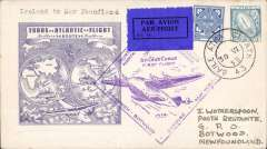 (Ireland) Pan Am F/F Foynes to Botwood, bs 1/7, attractive and uncommon blue/white 'twin globe' cover, fine strike large diamond flight cachet.