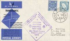 (Ireland) Scarcer F/F Imperial Airways North Atlantic Service, Foynes to Botwood, bs St Johns 7/8, official cachet, official blue/grey IAW souvenir cover, Imperial Airways. Baldwin 559d.