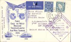 "(Ireland) Imperial Airways first trans Atlantic flight (Northern route), Foynes to Newfoundland, bs St Johns 7/8, attractive uncommon registered (label) blue/cream ""W.S.C. (?Westminster Stamp Club) ""First East to West Regular Transatlantic Air Mail Service 1939"" cover franked 1/3d, fine large violet diamond flight cachet.."