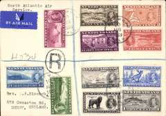 """(Newfoundland) Scarcer Imperial Airways F/F Transatlantic Service, Botwood to England, bs 12/8,  registered (hs) cover franked 1937 Coronation set of 11, typed """"North Atlantic Air Service"""".  Only a few exist as most were flown out by PAA Northern service to arrive in time."""