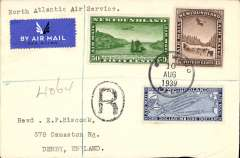 """(Newfoundland) High value franking on scarcer Imperial Airways F/F Transatlantic Service, Botwood to England, bs 12/8,  registered (hs) cover franked 1931 air set of 3 (Cat SG £164 used), typed """"North Atlantic Air Service"""".  Only a few exist as most were flown out by PAA Northern service to arrive in time."""