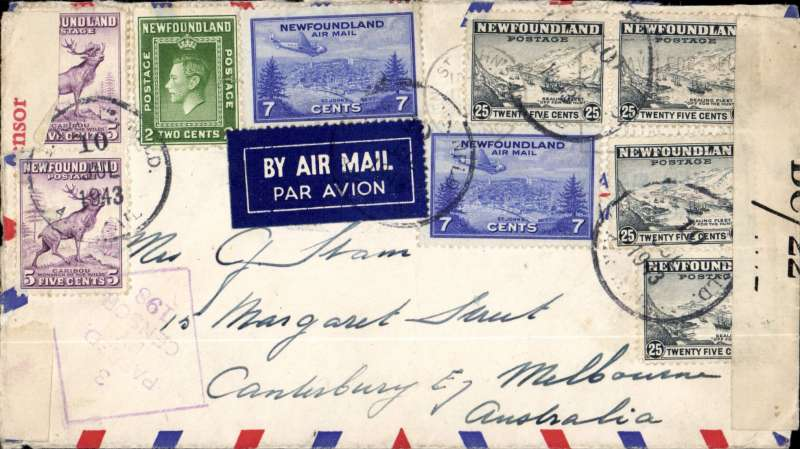 (Newfoundland) Superb WWII dual censored cover, Newfoundland to Australia, airmail cover franked $1.26 canc St. John's cds and 'Newfoundland/10 Jul/1943/Air Mail' cds sealed Newfoundland DC/22 censor label (used from April 1942 to April 1945) and Australia red/white civilian OBC 3 state of VIctoria censor tape, also violet diamond Victoria censor hand stamp. At this time there was no service across the Pacific. The most likely route being down to Miami, then Pan Am south Atlantic service to West Africa, then across the Sahara to Khartoum to joint the Horseshoe service which, in 1943, went only as far as Calcutta, from where it was sent to Australia by sea.
