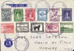 (Newfoundland) Super early post WWII trans Atlantic airmail cover, Gander, Newfoundland to Oslo, no arrival ds, blue/pale blue KLM Flying Dutchman cover franked $2.23, canc 'Gander/24 Oct 47/Nfld' cds. Likely flown KLM on NY-Gander-Prestwick-Amsterdam service, or Atlantic Overseas Airlines NY-Oslo.