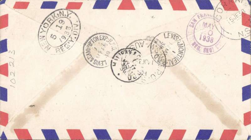 (Newfoundland) Superb pre WWII trans Pacific registered (hs) airmail cover franked FDI 1937 Royal Family Coronation set of 4, St John's Newfoundand to Australia bs Coraki NSW 15/6, via Halifax NS 17/5, Levis & Campbelltown RPO 18/5, New York/Regn Div/19/5, San Francisco 20/5 and GPO Sydney/NSW 14/6. Exceptional routing - without doubt one for the exhibit.
