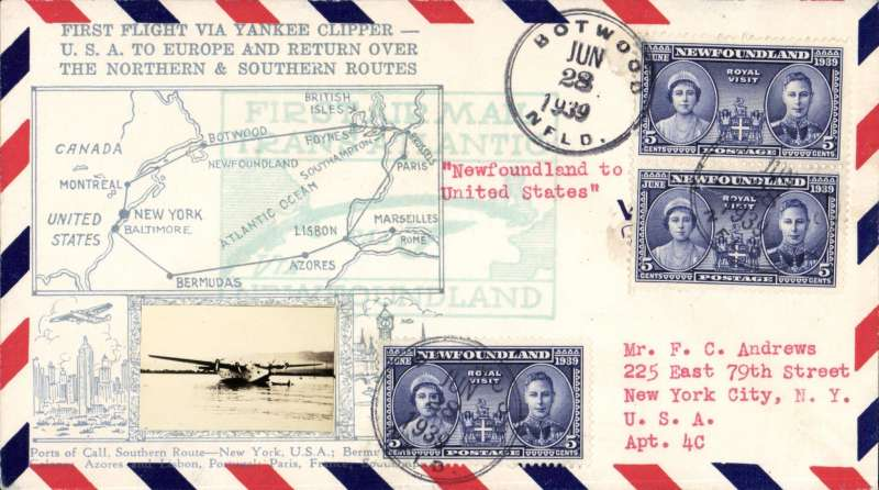 (Newfoundland) F/F Yankee Clipper, Botwood to New York, b/s, very attractive Crosby cover with small B&W photo of Yankee Clipper at mooring and map with silver embossed artwork of the Northern and Southern routes.