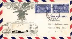 (Newfoundland) F/F Yankee Clipper, Botwood to New Brunswick, bs Shediac 1/7, attractive Crosby cover with small B&W photo of Yankee Clipper at mooring and map and silver embossed artwork of the Pan Am 'eagle over shield' logo and 'First Flight /Yankee Clipper Trans Atlantic Service.