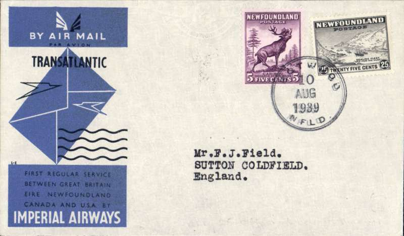 (Newfoundland) Scarce Imperial Airways F/F Transatlantic Service, Botwood to England, bs Sutton Coldfield 12/8, official blue/grey IAW souvenir cover correctly franked 30c (5c plus 25c Special Delivery fee). Only 25 official IAW souvenir covers were carried on this flight - the majority were flown out by PAA Northern service to arrive in time. Francis Field authentication hs verso.