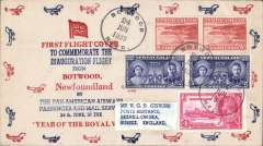 (Newfoundland) Pan Am FAM 18 F/F Botwood-Foynes, b/s, uncommon red/white/blue cover printed in Newfoundland by the Pioneer Stamp Co. Flight cachets were not provided by either London or Botwood postal services (ref Vol 3, AAMC, 2004) and the Foynes diamond purple arrival cachet on the back of this cover is uncommon