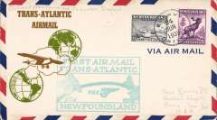 (Newfoundland) Pan Am FAM 18 F/F Botwood-London, no b/s (mail arriving London was not back stamped, Vol 3, AAMC, 2004), pale blue flight cachet, uncommon airmail cover with brown/green 'Trans-Atlantic/Airmail' and plane flying between two globes printed on lh side of cover.