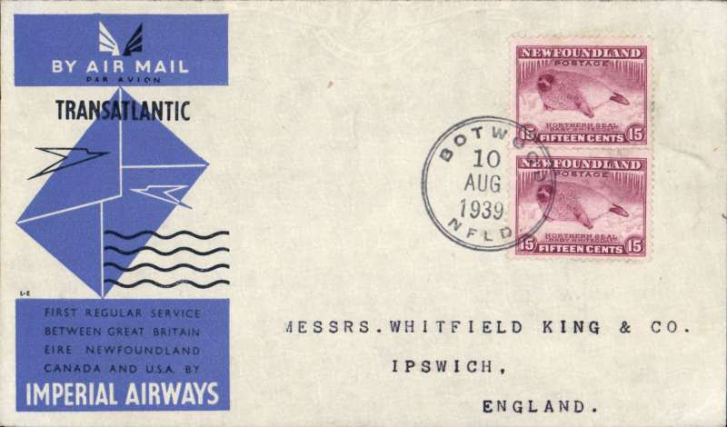 (Newfoundland) Scarce Imperial Airways F/F Transatlantic Service, Botwood to England, ms 'Recd Southampton/11 Aug', official blue/grey IAW souvenir cover correctly franked 30c (5c plus 25c Special Delivery fee). Only 25 official IAW souvenir covers were carried on this flight - the majority were flown out by PAA Northern service to arrive in time.