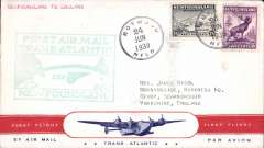 (Newfoundland) Pan Am FAM 18 F/F Botwood-Southampton, no b/s (mail arriving London was not back stamped, Vol 3, AAMC, 2004), green flight cachet, attractive red/white/blue 'Clipper' souvenir cover.