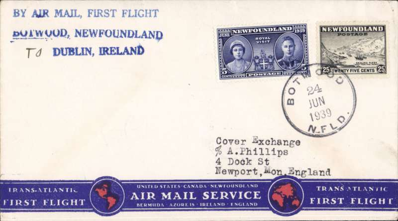 (Newfoundland) Pan Am FAM 18 F/F Botwood-London, bs 29/6, attractive bottom printing and stripe souvenir cover correctly franked 30c (5c plus 25c Special Delivery fee), green flight cachet, a Foynes diamond purple arrival cachet verso which is uncommon