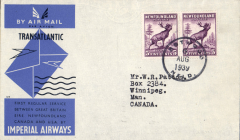 (Newfoundland) Imperial Airways F/F Transatlantic Service, Botwood to Montreal, bs 6/8, official Imperial Airways grey/blue souvenir cover franked 15c, Francis Field authentication hs verso.