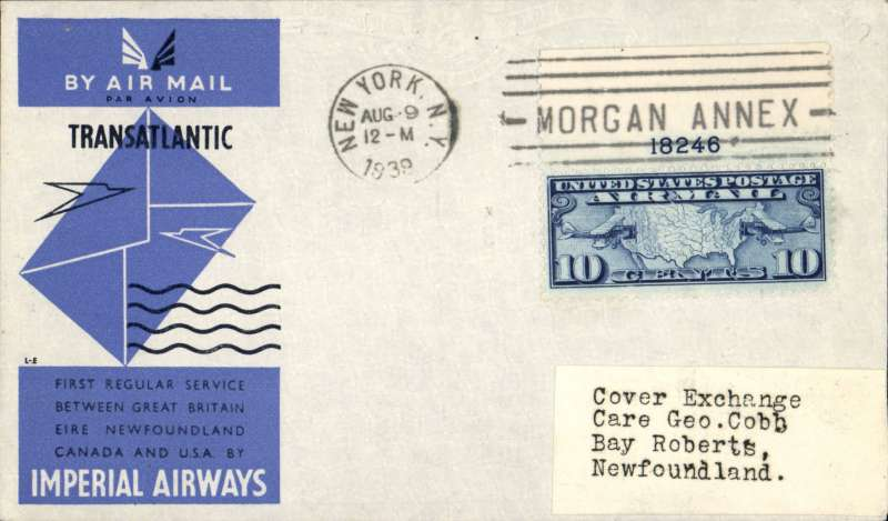 (GB External) Imperial AW, F/F New York-Newfoundland. bs Botwood 10/8 and Bay Roberts 12/9, official IAW cover franked US 10c air.