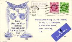 (GB External) Pan Am F/F London-New York, attractive Westminster Stamp Co souvenir cover franked GB 1/3d.