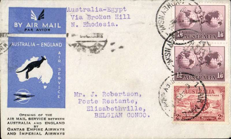 (Australia) Scarce first acceptance of mail for the Belgian Congo from Australia, for carriage on the first regular Imperial Airways/Qantas Australia-England service, Sydney to Elisabethville, bs, via Cairo, 22/12, and Broken Hill 26/12,  blue/grey printed souvenir cover franked 3/2d inc pair 1/6d. Flown Brisbane-Darwin by Qantas, Darwin-Cairo by IAW IW 298, Cairo-Broken Hill by IAW AS199, and Broken Hill-E'villle by the Aero Club of Katanga. Only 463 items were flown from Australia to all points other than London, viz to the Far East, Middle East, the Med, Europe and Africa. Thus some sections are likely to be great rarities. This item is likely to be one such.
