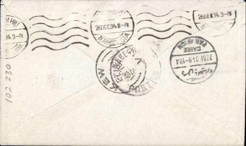 (Australia) Scarce first acceptance of mail for the Belgian Congo from Australia, for carriage on the first regular Imperial Airways/Qantas Australia-England service, Kew to Elisabethville, bs, via Cairo, 22/12, and Broken Hill 26/12,  blue/grey printed souvenir cover franked 3/2d inc pair 1/6d.  Flown Brisbane-Darwin by Qantas, Darwin-Cairo by IAW IW 298, Cairo-Broken Hill by IAW AS199, and Broken Hill-E'villle by the Aero Club of Katanga. Only 463 items were flown from Australia to all points other than London, viz to the Far East, Middle East, the Med, Europe and Africa. Thus some sections are likely to be great rarities. This item is likely to be one such.