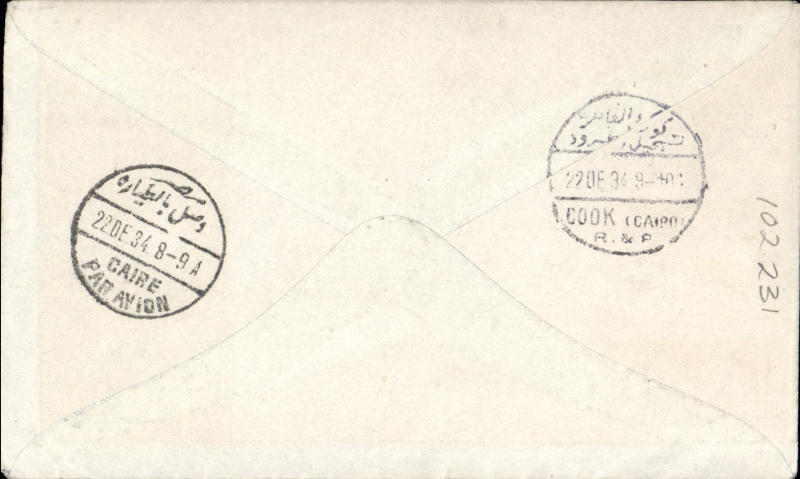 (Australia) Rare first acceptance of mail for Cairo, Egypt from Australia for carriage on the first regular Imperial Airways/Qantas Australia-England service, Kew to Cairo, 22/12, also Thomas Cook Cairo 22/12 receiver, blue/grey printed souvenir cover franked 1/7d. Flown Brisbane-Darwin by Qantas, then Darwin-Cairo by IAW IW 298. Only 463 items were flown from Australia to all points other than London, viz to the Far East, Middle East, the Med, Europe and Africa. Thus some sections are likely to be great rarities. This item is likely to be one such.