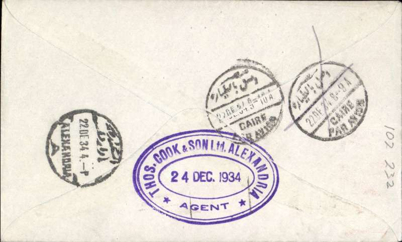 (Australia) Rare first acceptance  of mail for Alexandria, Egypt from Australia for carriage on the first regular Imperial Airways/Qantas Australia-England service, Sydney to Alexandria bs 22/12, via Cairo 22/12, also large violet oval Thomas Cook Cairo 24/12 receiver, blue/grey printed souvenir cover franked 1/7d. Flown Brisbane-Darwin by Qantas, then Darwin-Alexandria by IAW IW 298. Only 463 items were flown from Australia to all points other than London, viz to the Far East, Middle East, the Med, Europe and Africa. Thus some sections are likely to be great rarities. This item is likely to be one such.