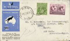 (Australia) Rare first acceptance of mail for Aswan, Egypt  from Australia, for carriage on the first regular Imperial Airways/Qantas Australia-England service, Kew to Alexandria bs 26/12, via Cairo 22/12 and Luxor 23/12, blue/grey printed souvenir cover franked 1/7d, flown Brisbane-Darwin by Qantas, then Darwin-Alexandria by IAW IW 298. Only 463 items were flown from Australia to all points other than London, viz to the Far East, Middle East, the Med, Europe and Africa. Thus some sections are likely to be great rarities. This item is likely to be one such.