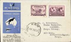 (Australia) First acceptance of mail for Africa, Kew to Nairobi, bs 25/12, via Cairo 22/12, carried on first regular Imperial Airways/Qantas Australia-England service, souvenir blue/light grey 'Kangaroo' company cover, franked 1/6d and 9d (SG 152 Cat £45 used), canc 'Sydney/12 Dec/Air Mail' cds. Carried from Cairo to Nairobi on IAW flight ASS 199, This  service carried mail for Africa flown on Imperial Airways first return Brisbane-Singapore extension of the Eastern route. See Wingent p65. Only 463 items were flown from Australia to all points other than London, viz to the Far East, Middle East, the Med, Europe and Africa.