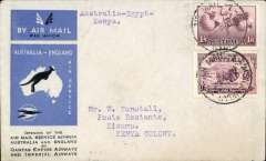 (Australia) First acceptance of mail for Africa, Sydney to Kisumu, bs 24/12, via Cairo 22/12, carried on first regular Imperial Airways/Qantas Australia-England service, souvenir blue/light grey 'Kangaroo' company cover, franked 1/6d and 9d (SG 152 Cat £45 used), canc 'Sydney Air Mail 12 Dec 34' cds. Carried from Cairo to Kisumu on IAW flight ASS 199, This  service carried mail for Africa flown on Imperial Airways first return Brisbane-Singapore extension of the Eastern route. See Wingent p65. Only 463 items were flown from Australia to all points other than London, viz to the Far East, Middle East, the Med, Europe and Africa.