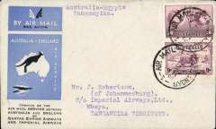 (Australia) First acceptance of mail for Africa, Sydney to Mbeya, Tanganyika, via Cairo 22/12, carried on first regular Imperial Airways/Qantas Australia-England service, souvenir blue/light grey 'Kangaroo' company cover, franked 1/6d and 9d (SG 152 Cat £45 used), canc 'Sydney/12 Dec 34/Air Mail' cds. Carried from Cairo to Mbeya on IAW flight ASS 199, This  service carried mail for Africa flown on Imperial Airways first return Brisbane-Singapore extension of the Eastern route. See Wingent p65. Only 463 items were flown from Australia to all points other than London, viz to the Far East, Middle East, the Med, Europe and Africa.
