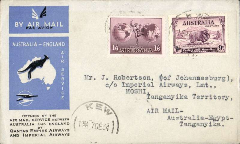 (Australia) First acceptance of mail for Africa, Kew to Moshi, Tanganyika, via Cairo 22/12, carried on first regular Imperial Airways/Qantas Australia-England service, souvenir blue/light grey 'Kangaroo' company cover, franked 1/6d and 9d (SG 152 Cat £45 used), canc 'Kew/7 Dec/Vic' cds. Carried from Cairo to Moshi on IAW flight ASS 199, This  service carried mail for Africa flown on Imperial Airways first return Brisbane-Singapore extension of the Eastern route. See Wingent p65. Only 463 items were flown from Australia to all points other than London, viz to the Far East, Middle East, the Med, Europe and Africa.