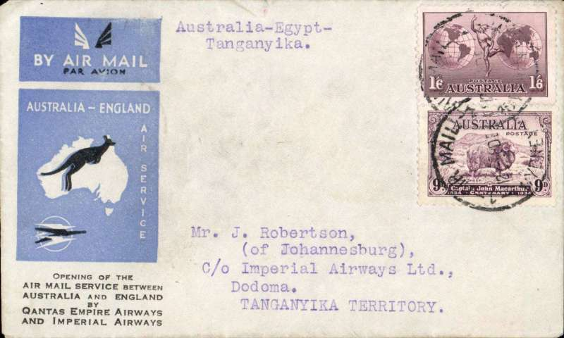 (Australia) First acceptance of mail for Africa, Sydney to Dodoma, Tanganyika, bs 25/12, via Cairo 22/12, carried on first regular Imperial Airways/Qantas Australia-England service, souvenir blue/light grey 'Kangaroo' company cover, franked 1/6d and 9d (SG 152 Cat £45 used), canc 'Sydney/12 Dec/Air Mail' cds. Carried from Cairo to Dodoma on IAW flight ASS 199, This  service carried mail for Africa flown on Imperial Airways first return Brisbane-Singapore extension of the Eastern route. See Wingent p65. Only 463 items were flown from Australia to all points other than London, viz to the Far East, Middle East, the Med, Europe and Africa.