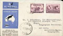(Australia) First acceptance of mail for Africa, Kew to Mbeya,Tanganyika, bs 25/12, via Cairo 22/12, carried on first regular Imperial Airways/Qantas Australia-England service, souvenir blue/light grey 'Kangaroo' company cover, franked 1/6d and 9d (SG 152 Cat £45 used), canc 'Kew/7 Dec/Vic' cds. Carried from Cairo to Dodoma on IAW flight ASS 199, This  service carried mail for Africa flown on Imperial Airways first return Brisbane-Singapore extension of the Eastern route. See Wingent p65. Only 463 items were flown from Australia to all points other than London, viz to the Far East, Middle East, the Med, Europe and Africa.