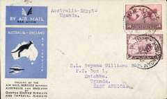 (Australia) First acceptance of mail for Africa, Sydney to Entebbe, Uganda, bs 24/12, via Cairo 22/12, carried on first regular Imperial Airways/Qantas Australia-England service, souvenir blue/light grey 'Kangaroo' company cover, franked 1/6d and 9d (SG 152 Cat £45 used), canc 'Sydney/12 Dec/Air Mail' cds. Carried from Cairo to Entebbe on IAW flight ASS 199, This  service carried mail for Africa flown on Imperial Airways first return Brisbane-Singapore extension of the Eastern route. See Wingent p65. Only 463 items were flown from Australia to all points other than London, viz to the Far East, Middle East, the Med, Europe and Africa.