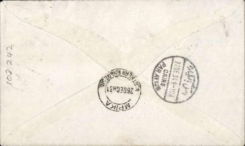 (Australia) First acceptance of mail for Africa, Sydney to Mpika, Northern Rhodesia, bs 26/12, carried on first regular Imperial Airways/Qantas Australia-England service, souvenir blue/light grey 'Kangaroo' company cover, franked 1/6d, 2d, and 9d (SG 152 Cat £45 used), canc 'Sydney/12 Dec 34/Air Mail' cds. Carried from Cairo to Mpika on IAW flight ASS 199, This  service carried mail for Africa flown on Imperial Airways first return Brisbane-Singapore extension of the Eastern route. See Wingent p65. Only 463 items were flown from Australia to all points other than London, viz to the Far East, Middle East, the Med, Europe and Africa.